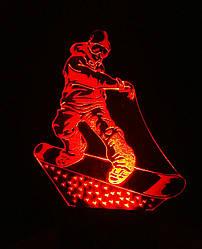 3d-світильник Сноубордист, 3д-нічник, кілька підсвічувань (на батарейці)