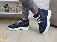 Женские зимние кроссовки ботинки дутики синие снежинки