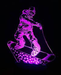 3d-світильник Сноубордист, 3д-нічник, кілька підсвічувань (батарейка+220В)