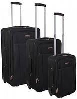 Функциональный тканевый набор трех чемоданов на 2-х колесах Ciak Roncato Queen, 45.13.01 черный