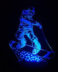3d-світильник Сноубордист, 3д-нічник, кілька підсвічувань (на пульті)