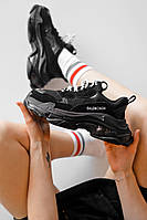 Женские кроссовки Balenciaga Triple S Clear Sole, Black чёрные. Размеры (36,37,38,39,40)