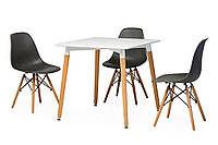 Обеденный стол TM-30 белый Vetro Mebel 80х80 см, ножки из бука