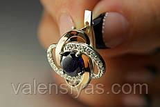 Серебряные серьги с золотом и черными камнями