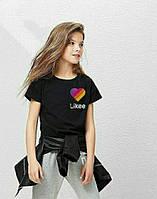 Детская футболка Likee .  На 1-16 лет. Футболка лайк, лайкее черного цвета.