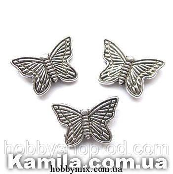 """Металл. бусина """"бабочка"""" серебро (1,5х1 см) 17 шт в уп."""