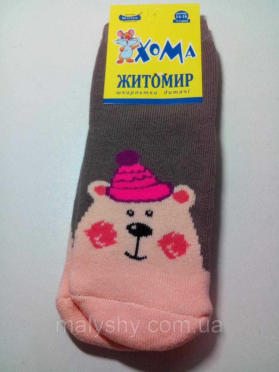 Детские носки махровые ХОМА ЖИТОМИР р.14-16 МИШКА-корич/шкарпетки дитячі зимові махрові, носочки махра зимние