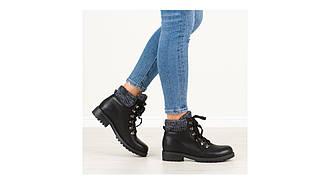 Женские ботинки тимберленды черные с вязанным отворотом 36-38