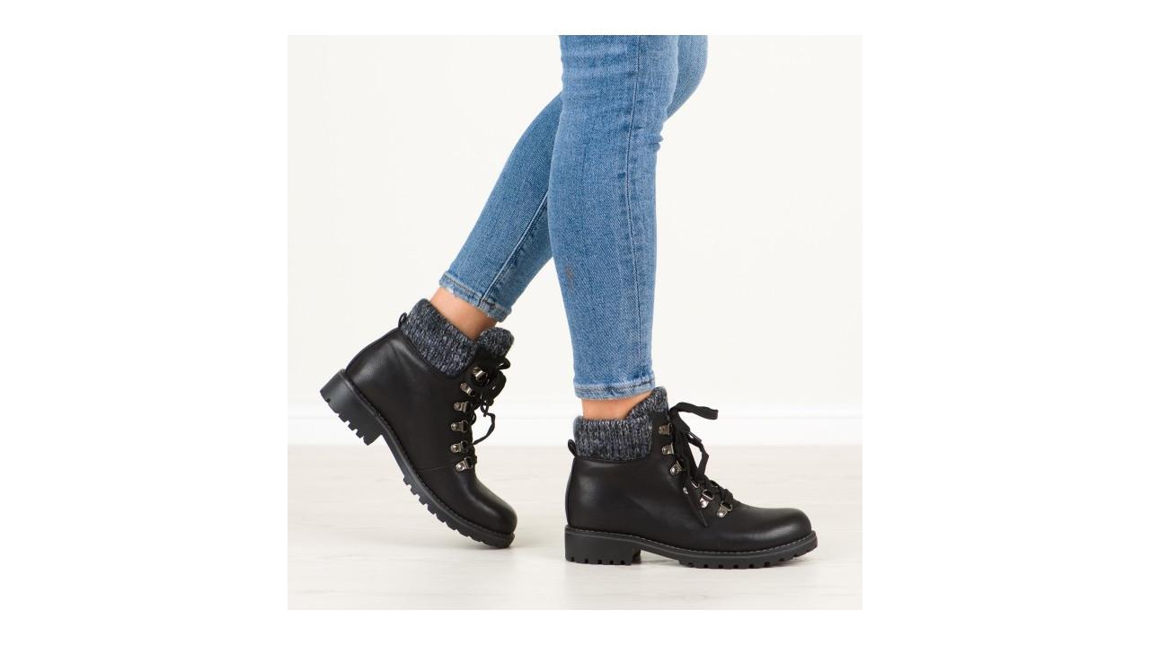 Женские ботинки черные вязаный отворот кожа мех внутри тимберленды Европа 36-41