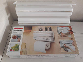 Держатель кухонный 3 в 1 для бумажных полотенец, фольги и пленки настенный