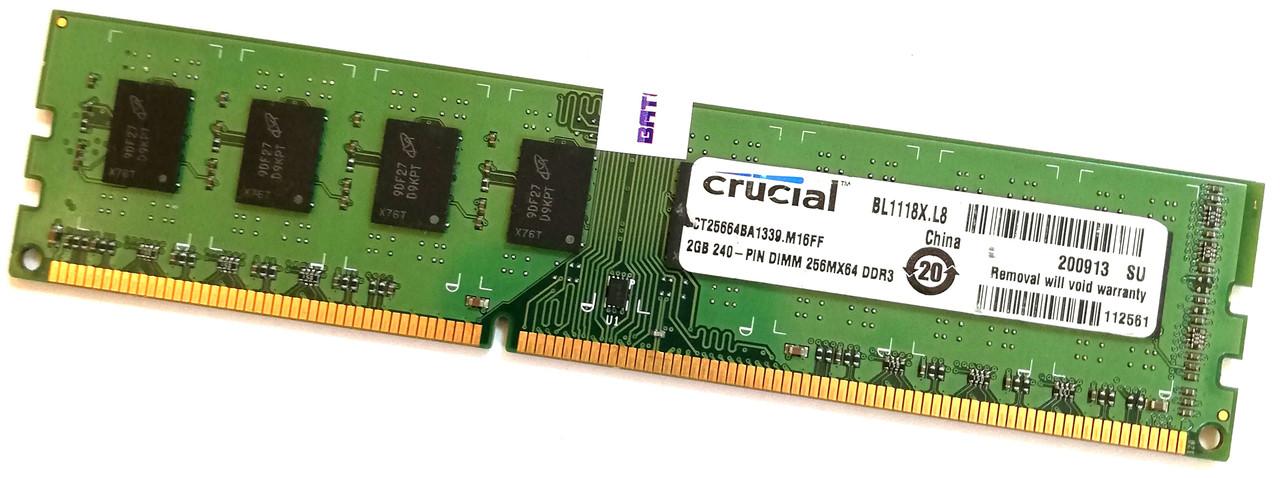 Оперативная память Crucial DDR3 2Gb 1333MHz PC3-10600U CL9 2R8 (CT25664BA1339.M16FF) Б/У