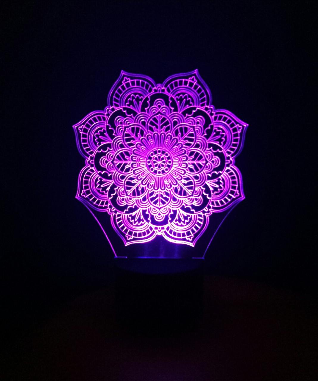 3d-светильник Мандала, 3д-ночник, несколько подсветок (на пульте)