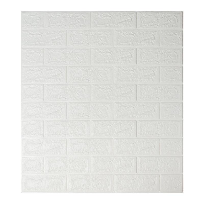 Самоклеющаяся декоративная 3D панель под белый кирпич 700x770x5мм