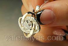 Серьги из серебра 925 с золотом и белыми прозрачными камнями