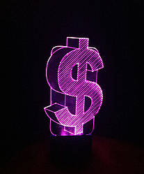 3d-світильник Долар США, 3д-нічник, кілька підсвічувань (на пульті)