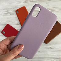 Чехол на айфон xr кожаный Leather case for iPhone Xr lilac кожаный чехол на айфон