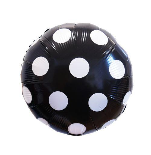 """Фольгированный шарик """"Круг в точку"""" Чёрный 18""""(45см)"""