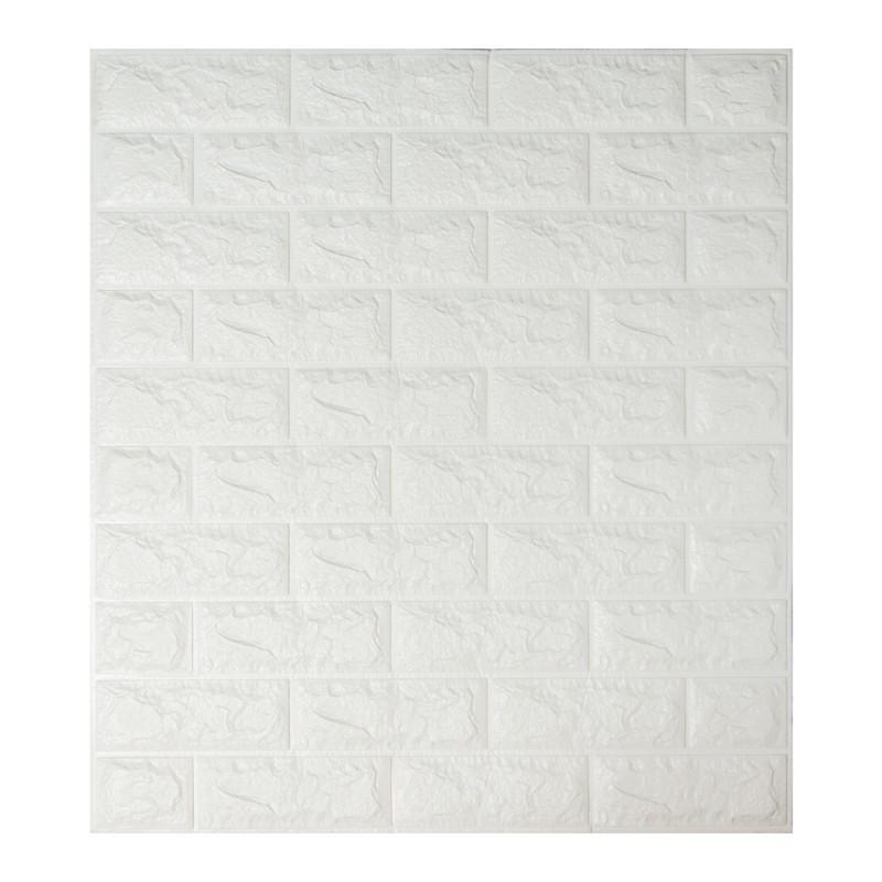 Самоклеющаяся декоративная 3D панель под белый кирпич 700x770x7мм, фото 1