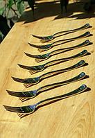 Пластиковые вилки одноразовые 12 шт 188 мм для фуршета и кейтеринга  Capital For People серебро плотные.