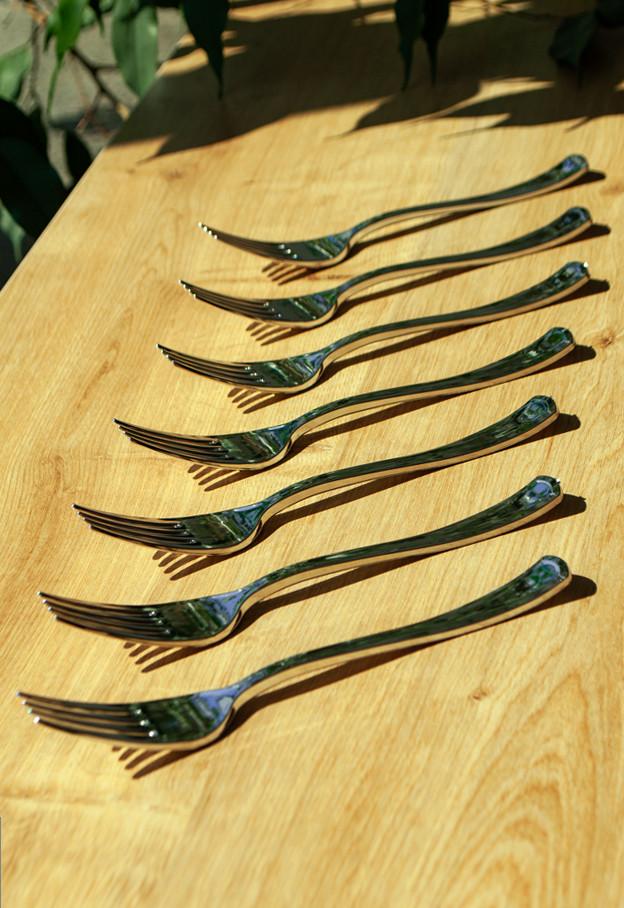 Вилки пластиковые плотные, полная сервировка  для ресторанов,кейтеринга оптом от производителя CFP 12шт 188 мм