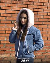 Теплая женская меховая джинсовка с капюшоном QJBM