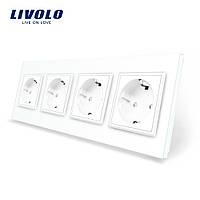 Розетка четырехпостовая с заземлением Livolo, цвет белый, материал стекло (VL-C7C4EU-11), фото 1