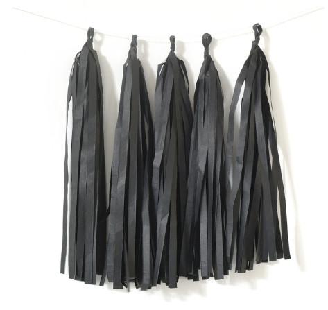 Кисточки для тассел гирлянды чёрного цвета, 5 шт