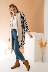 Вязаное пальто с принтом «Лео»