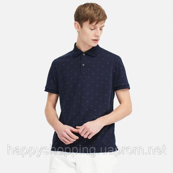 Мужская темно-синяя быстросохнущая футболка-поло с принтом Uniqlo (Размер - S)