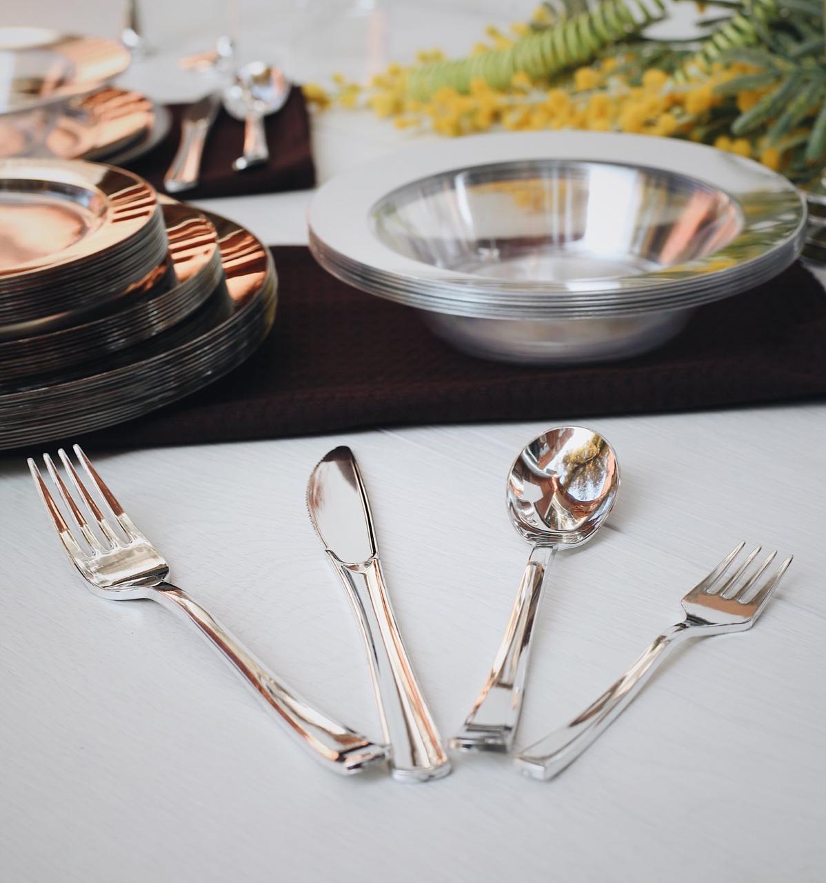 Вилки десертные одноразовые 130 мм 24 шт серебро плотные  для фуршета и кейтеринга Capital For People