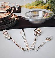 Вилки десертные одноразовые 130 мм 24 шт серебро плотные  для фуршета и кейтеринга Capital For People, фото 1