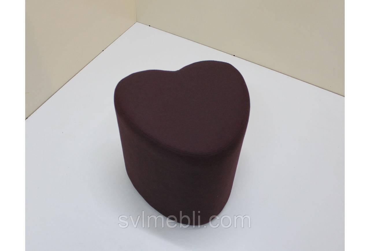 Пуф Сердце рогожка Бордовый