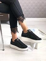 Женские кроссовки Alexander Mcqueen чёрные в блёстках. Размеры (36,37,38,39,40)