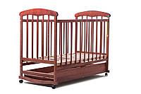 Детская кроватка Наталка для новорожденного с ящиком,ясень темная
