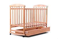 Детская кроватка Наталка для новорожденного с ящиком (нат) + МАТРАСИК