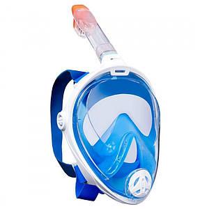 Инновационная маска для снорклинга подводного плавания Easybreath | Голубая