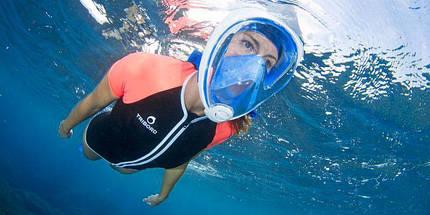 Инновационная маска для снорклинга подводного плавания Easybreath   Розовая, фото 3