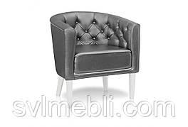 Кресло Доминика белые ножки экокожа серый