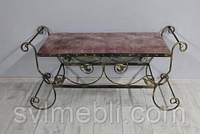 Банкетка кованая Сицилия большая, розовый велюр, каркас черное золото, фото 2
