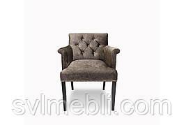 Кресло Ришелье, велюр коричневый, ножки венге