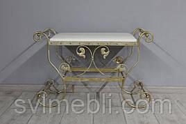 Банкетка кованая Сицилия маленькая, экокожа белая, каркас бежевое золото