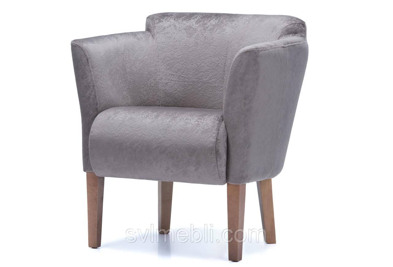 Кресло Мишель велюр кофейный ножки орех