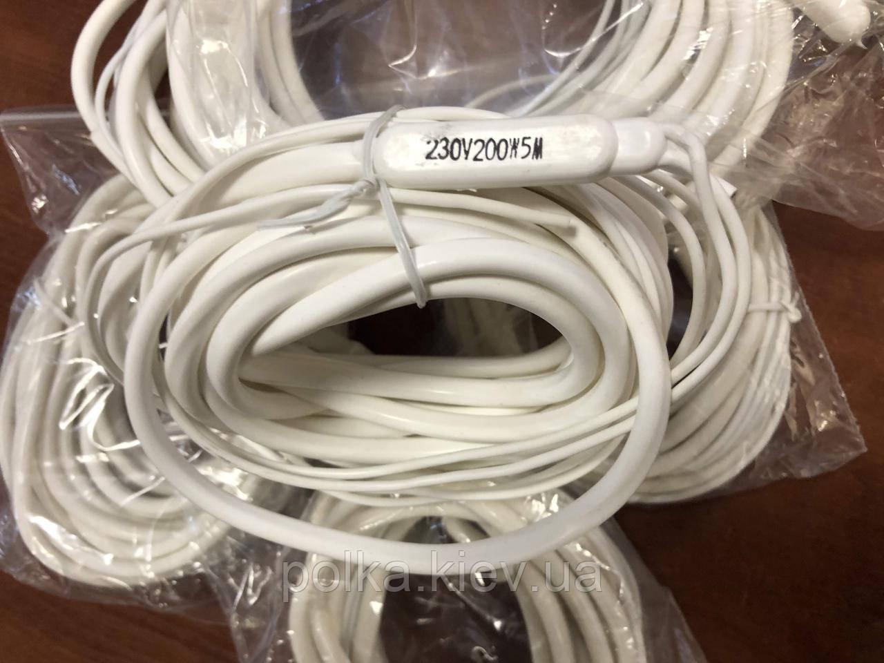 Тэн гибкий 5м 230v 200w (греющий кабель, дренажный)