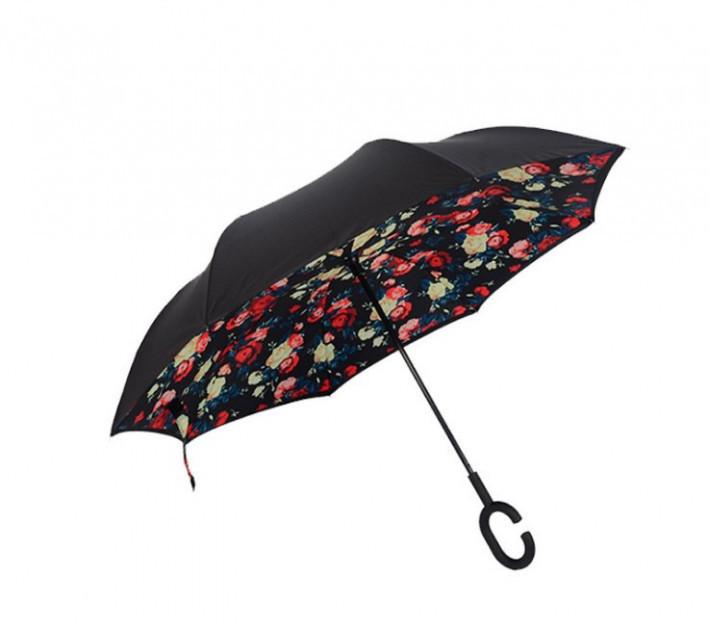Зонт Наоборот Up-brella - Зонт Обратного Сложения   Розы