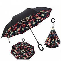 Зонт Наоборот Up-brella - Зонт Обратного Сложения   Розы, фото 3