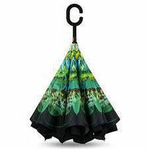 Зонт Навпаки Up-brella - Парасольку Зворотного Складання | Зелений квітка, фото 3