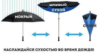 Зонт Наоборот Up-brella - Зонт Обратного Сложения | Фиолетовый цветок, фото 3