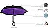 Зонт Наоборот Up-brella - Зонт Обратного Сложения | Розовый цветок, фото 4