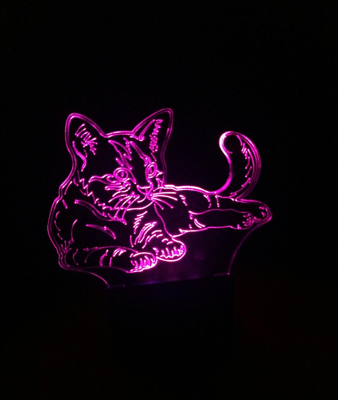 3d-светильник Кот кошка, 3д-ночник, несколько подсветок (на пульте)