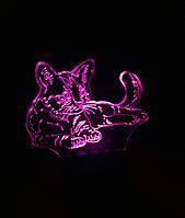 3d-светильник Кот, кошка, 3д-ночник, несколько подсветок (на пульте)